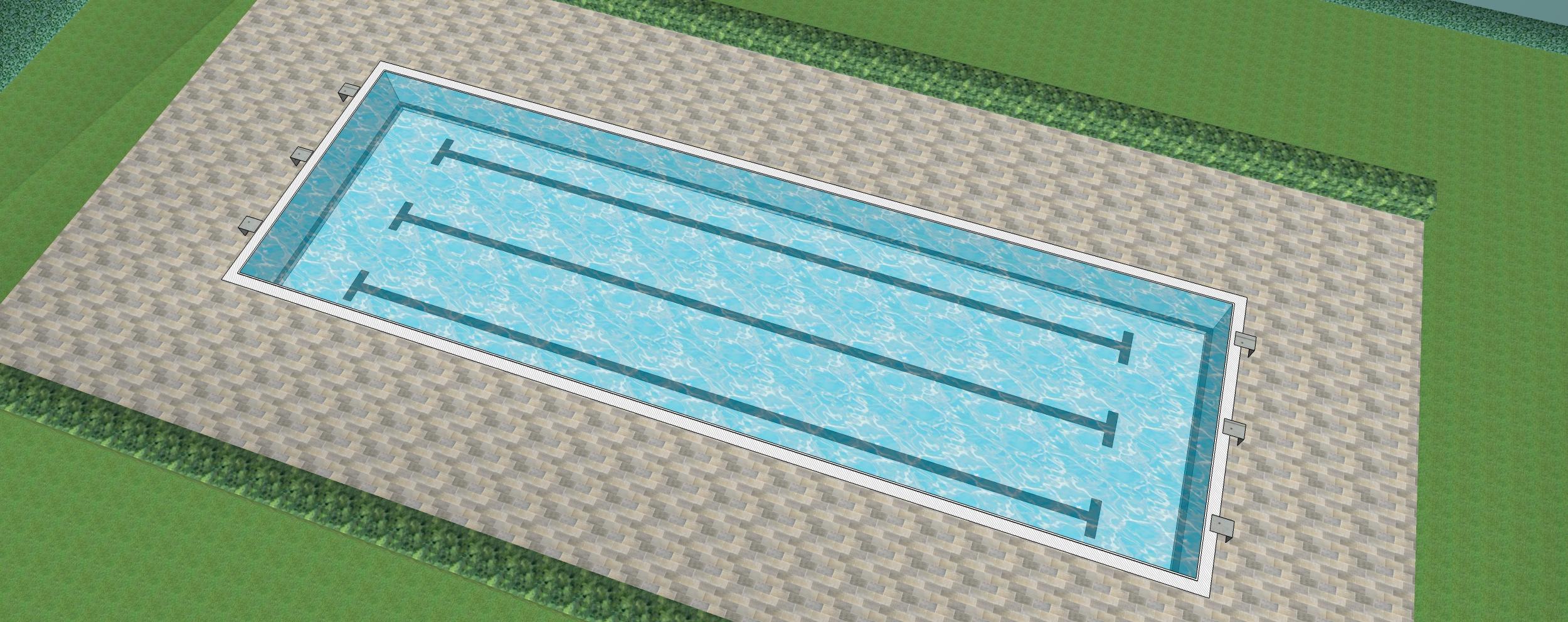 CAD ferner eines 25 m x 7,5 Schwimmerbeckens