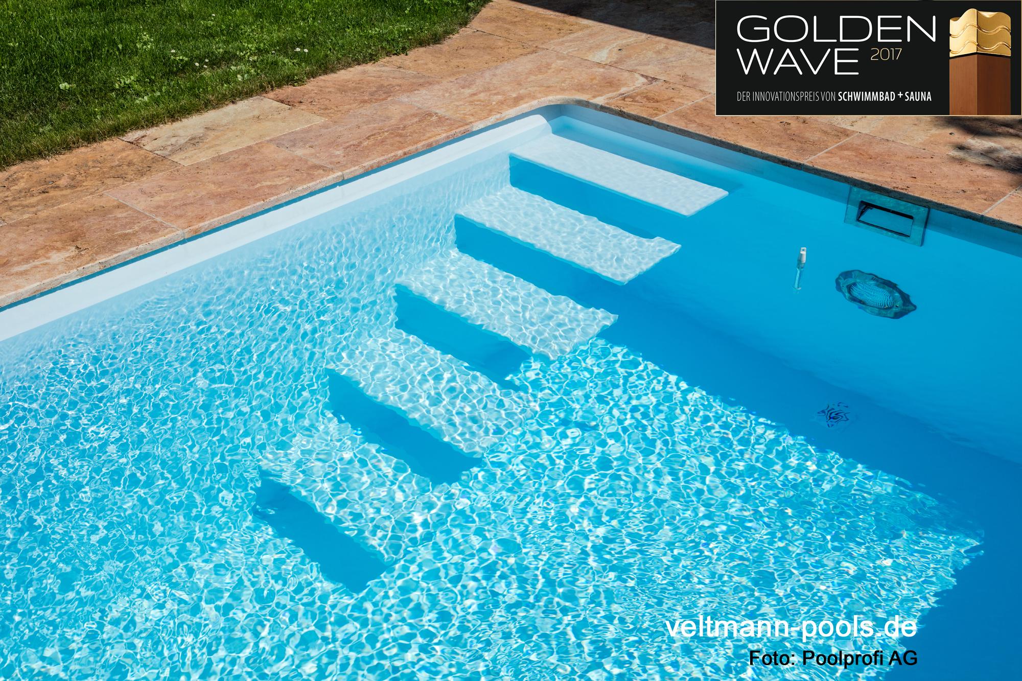perlende Stufen dafür Ausgezeichnet mit dem Golden Wave 2017